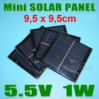 Solar panel / sel surya - 5,5V 1W 180mA - cocok utk charger HP dll