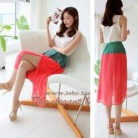 Impor Dress Cifon Layer White Pink