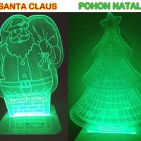 Jual Souvenir Natal Lampu Akrilik Unik Santa & Pohon Christmas Acrylic