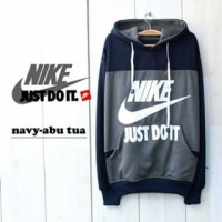 Jaket sweater pria lengan panjang Nike Just Do It Navy Misty