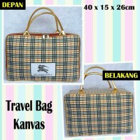 Tas Travel Bag Koper Kanvas Renang Kotak Dewasa Tenteng Burberry Gold