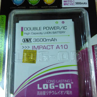 baterai battery mito a10 impact Dobel power log on 3600mah japan cell