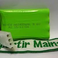 batere Nicd 9,6V 1400mAH socket 3 lobang merk HJ/RC drift max turbo