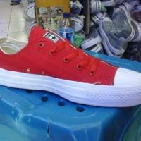 sepatu converse polos merah putih low murah + box