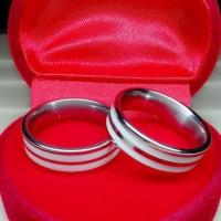 Cincin Couple Titanium Tulus Baadi PUtih, FREE UKIR nama