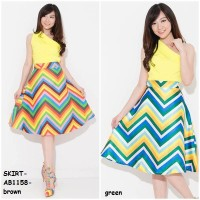 Rok Skirt Dress Pesta Formal Bahan Valentino Rainbow Korea Import