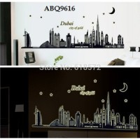 wall sticker/wall stiker trans 60x90-ABQ9616-DUBAI CITY OF GOLD