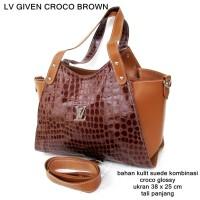tas wanita glossy casual kulit given brown