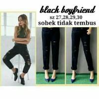 Black Boyfriend Jeans - Sobek Tidak Tembus