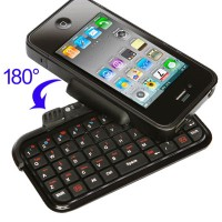 Bluetooth Keyboard 180 Degree Rotate Case with Flip-out for iPhone 4