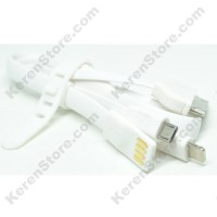 Taff Multifunction USB Micro USB 30 Pin Apple Lightning 40cm White