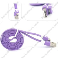 Taff Flat Noodle Charging SYNC Data Micro USB Cable 1m - Purple