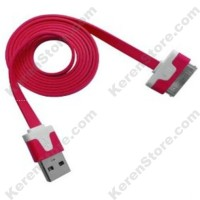Taff Flat Noodle Charging SYNC Data Cable For IPhone 4/4s 1m - Red