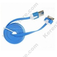 Taff Flat Noodle Charging SYNC Data Cable For IPhone 4/4s 1m - Blue