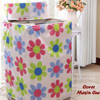 Cover Mesin Cuci FLOWER (Bahan satin tebal, anti air, anti panas)