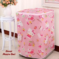 Jual Cover Mesin Cuci HELLO KITTY (Bahan satin tebal, anti air, anti panas) Murah