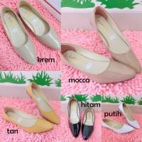 Jual Flat shoes NF01 sepatu flat sintetis glossy putih hitam Murah