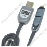 2 In 1 Duo Magic Cable Lightning Micro USB Cable LCD Black