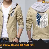 Jual SNK Canvas Cream Hoodie (Jaket Attack On Titan JA SNK 30) Murah