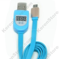 Micro USB Cable with LCD Current Display For Android - Blue