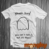 Baju Kaos Putih Desain GHOST HUG! Keren