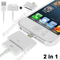 USB Male To 30 Pin Apple Cable Lightning 8 Pin Converter IPhone White