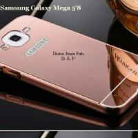 """Case Samsung Galaxy Mega 5"""" 8 Almunium Bumper + PC Miror Backcover"""