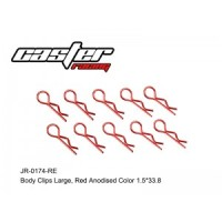 RC / JR-0174-RE BODY CLIPS LARGE,RED ANODISED COLOR