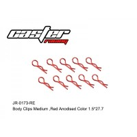 RC / JR-0173-RE BODY CLIPS MEDIUM,RED ANODISED COLOR