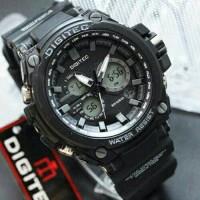 Jam Tangan Pria Digitec Original Dual Time Black-Grey (Water Resist)