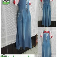 harga Overall jumpsuit jeans rok panjang muslim Ocherry kodok no inner Tokopedia.com