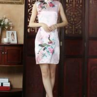satin cheongsam blouse untuk acara formal dan pesta