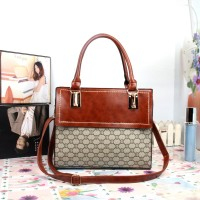 ... harga 962121 Brown Tas Kulit Kombinasi Kain Motif Gucci Leather Satchel Gaul Tokopedia.com