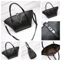 tas bahu kempit tangan handbags shoulder tote bag hitam kulit wanita
