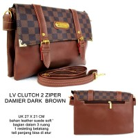 tas wanita clutch selempang multifungsi damier 2 zipper dark brown