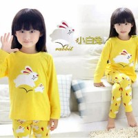 Setelan Baju Piyama Tidur Anak Perempuan Yellow Rabbit Girl Kid