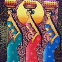 Lukisan Sriyadi 3 Orang Gadis Bali membawa Sesajian dikepala + Kayu