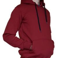 Jaket Hoodie Jumper Sweater Polos Merah Marun Kualitas Distro
