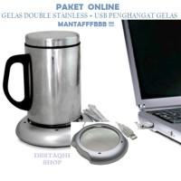 Jual PAKET GELAS DOUBLE STAINLESS + USB COFFEE WARMER PENGHANGAT MINUMAN Murah