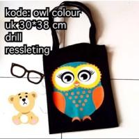 Jual tas totebag ready kode owl burung hantu warna murah Murah