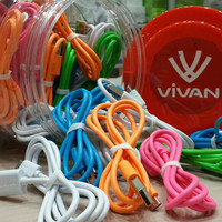 Kabel Data Micro USB Vivan 80 Cm (Cable Data + Charger) 1 Toples 50 Pcs