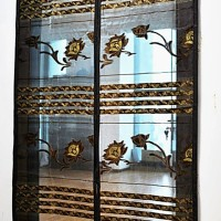 Tirai Magnet Jahit Elegan Lotus Bordir Coklat