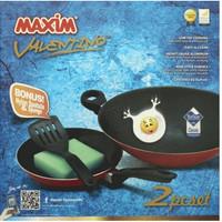 2 Set Wajan / Penggorengan (Wok 30 cm + Fry Pan 22 cm) Teflon MAXIM