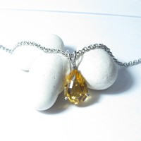 Natural Citrine Pendant In Sterling Silver (A0006)