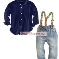 CLOB - 1642 SH 625 Superbaby Brand POLO DARK BLUE Shirt + Susp set