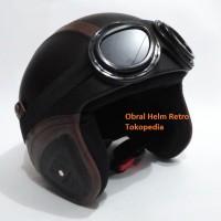 Jual Helm Retro SNI Hitam Garis Coklat Kacamata Google Lokal Murah