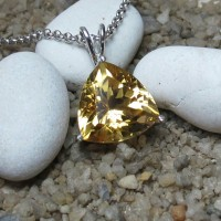 Natural Citrine Pendant In Sterling Silver (A0011)