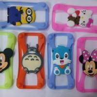 Bumper case 3d silikon hp kotak karakter motif universal semua jenis