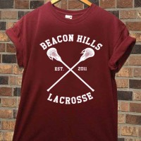 Beacon Hills Lacrosse logo Available shirt for men and woman Maroon