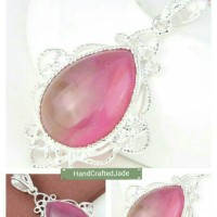 Liontin Natural Pink Agate Chalcedony Sterling Silver